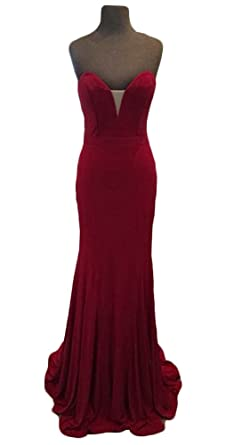 wildestdreamsbridal 2018 Womens Sexy Velvet Prom Dresses Long Red Mermaid Evening Gowns Plus Size at Amazon Womens Clothing store: