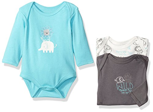 Jungle Bodysuit - Rene Rofe Baby Boys' 3 Piece Longsleeve Bodysuit Set, King Of The Jungle Grey, 6-9 Months