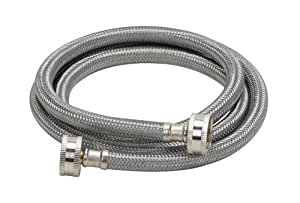 "Fluidmaster B9WM72 Washing Machine Connector, Stainless Steel - 3/4"" Hose Fitting x 3/4"" Hose Fitting, 6 Ft. (72"") Length"