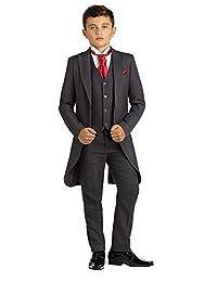 SHENLINQIJ Boys' Black Classic Tuxedo Dress Suit with Tail 3 Pieces Jackets Vest and Pants