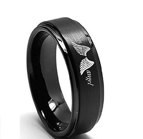 Daesar 1PCS Couple Rings Stainless Steel Adjustable Women Ring Engraved His Angel Black Engagement Ring Ring Size 5