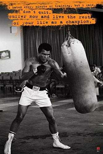 Muhammad Ali Punchbag Dont Quit Quote Boxing Sports Poster 24x36 inch