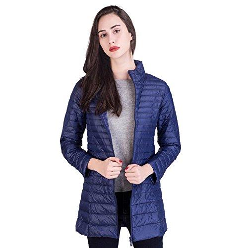 SantimonDe Las Mujeres Peso Ligero Packable Abajo Chaqueta Longitud Media Collar Del Soporte Down Coat Cremallera Desgastar Azul Marino