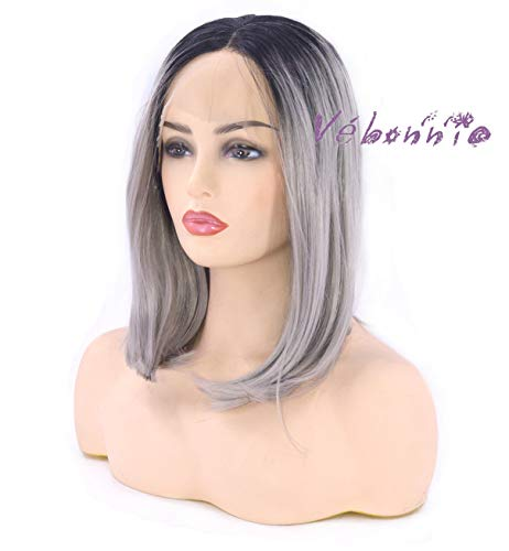 Vebonny Short Bob Grey Lace Front Wigs For Women Synthetic