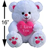 My Cuddle Bears Large I LOVE YOU Plush Fluffy Cozy White and Pink Love Teddy Bear 16 Inches Tall