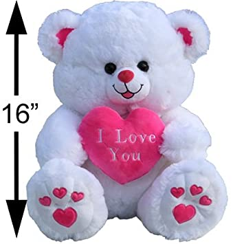 Amazon large i love you white and pink teddy bear toys games altavistaventures Images