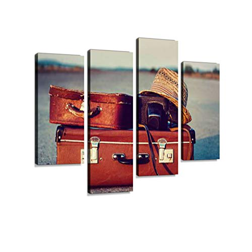 Suitcases on Road Canvas Wall Art Hanging Paintings Modern Artwork Abstract Picture Prints Home Decoration Gift Unique Designed Framed 4 Panel
