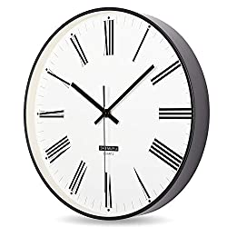 EMIROOM Classic Black and White Wall Clock, 12 inch Silent Non-Ticking Quartz, Battery Operated, Modern Decorative for Bedroom, Living Room, Kitchen, School and Office (Roman Numerals)