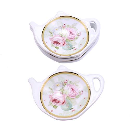 (Monrocco Set of 4 White Porcelain with Flower Trim Gold Rim Teapot-Shaped Tea Bag Holder Tea Bag Coasters Spoon Rests)