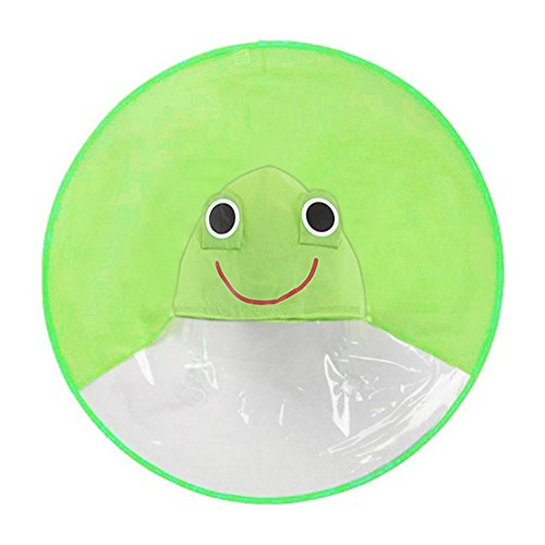 Raincoat, Rain Coat UFO Children Umbrella Hat Magical Hands Free Raincoat (S, Green - Frog Raincoat