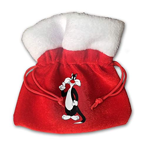 Beauty Red Nose Cat Print Christmas Candy Gifts Sack Santa Gift Treat for Kids Drawstring Present Bag Tote Ornament Decoration Made by Gold Velvet -Special Edition