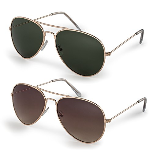 Stylle Classic Aviator Sunglasses with Protective Bag, 100% UV ()