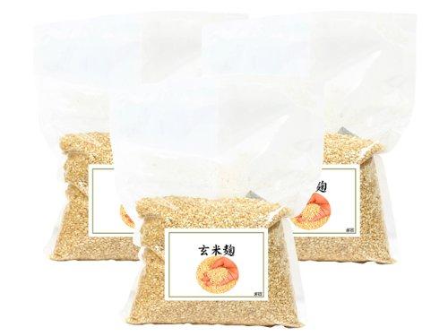 玄米麹1kg×3袋 乾燥品 (塩麹作り、甘酒作りに最適) 塩糀レシピ付き 日本製