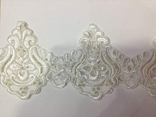 Beaded Lace Trim Sequinned Vintage Decorative Wedding/Bridal DIY Craft Sewing Coloured Fabric TR3 (Ivory 5 Yards) (3 4 Length Leggings With Lace Trim)