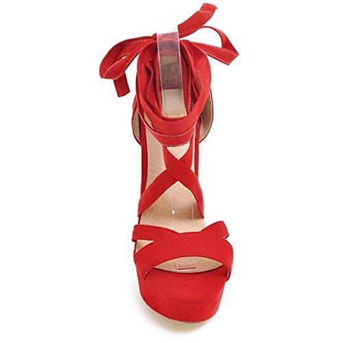 Coolcept Sandalias Cordones Zapatos Toe Ancho Tacon Mujer Rojo Moda Peep Plataforma TrrnU4Rq