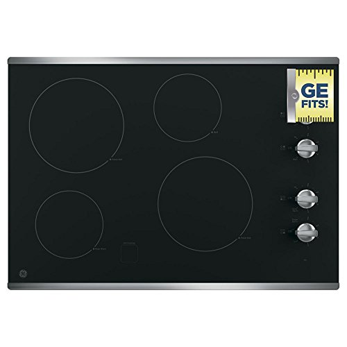 (GE JP3030SJSS 30 Inch Smoothtop Electric Cooktop with 4 Radiant Elements, Knob Controls, Keep Warm Melt Setting)