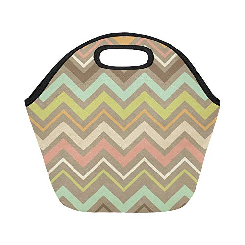 Insulated Neoprene Lunch Bag Chevron Paper Texture Large Size Reusable Thermal Thick Lunch Tote Bags For Lunch Boxes For Outdoors,work, Office, School