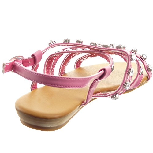 Sopily - Zapatillas de Moda Sandalias Gladiator Caña baja mujer multi-correa tachonada strass Talón Plataforma 1.5 CM - Camel