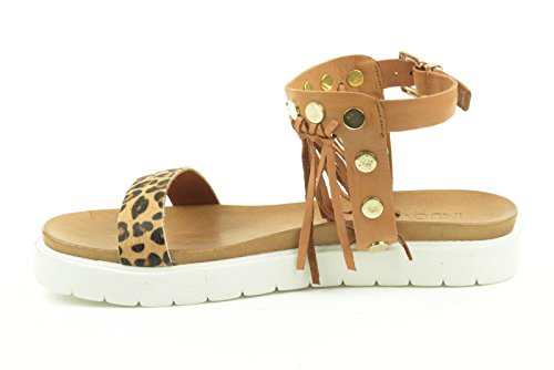 INUOVO sandalias de la mujer 5010 LYCHEE MARRONE LEOP.