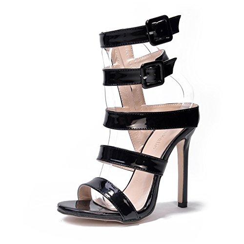 in alto scarpe nuove scarpe toe fibbia l'estate PU open col pelle Black e sandali tacco ZHZNVX Primavera qwvO0Fxp