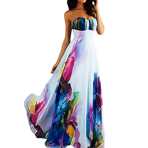 E_Vicia Elegant Dresses for Women Party Wedding Summer Vintage Dress Floral Print A-Line Midi Formal Dress with Pockets