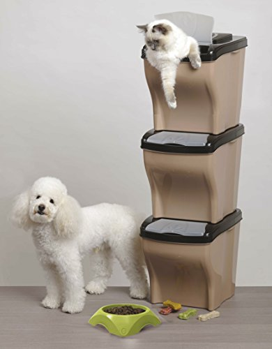 Stackable Pet Food (Versatile Perfect Pet Stackable & Nesting Pet Containers - Set of 3 (Made In Italy))