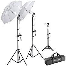"Neewer® Photography Studio Day Light Umbrella Lighting Kit, Kit includes: (2)75""/1.9m Tall Photography Studio Light Stands + (1)20""/50cm Table Top Light Stand + (3)Single Head Light Holder + (2)White Translucent Umbrella + (3)110V 45W Day-Light Studio Light Bulbs + (1)Convenient Carrying Case"