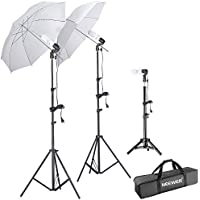 Neewer Studio Daylight Umbrella Light Kit, includes:(2)75/1.9m Light Stands+(1)20/50cm Light Stand+(3)Single Head Light Holder+(2)White Translucent Umbrella+(3)110V 45W Light Bulbs+(1)Carry Case