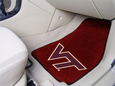 NCAA Virginia Tech Hokies Maroon 2-Piece Carpet Car Mat Set