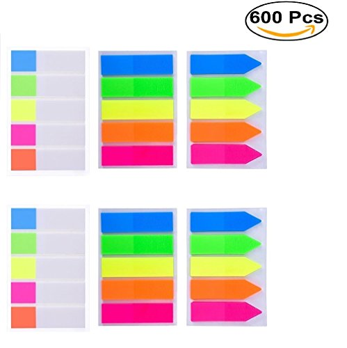 Lysas 600 pcs Neon Page Markers- Colored Page Index Tabs Flags Dispensers for Pages Mark, Assorted Fluorescent Bright Color Book Markers& Sticky Notes Memo, Great for Highlight Key Points, 6 Sets (20 Colour Full Page)