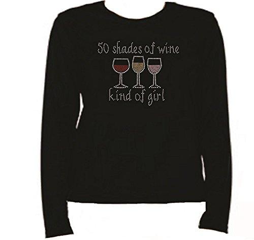 Rhinestone 50 Shades of Wine T Shirt LR 0403229 (M, BLACK)