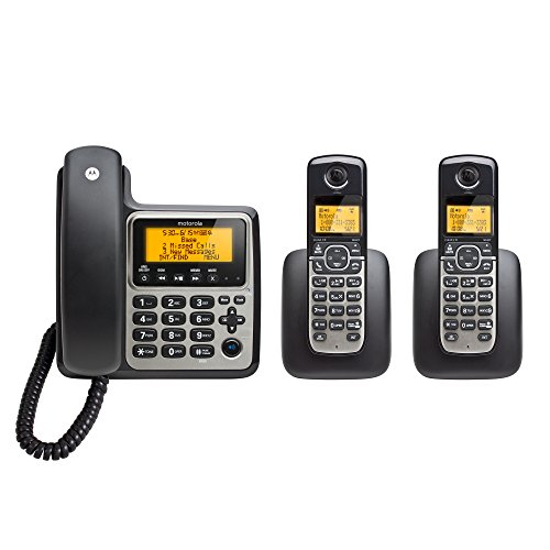 Motorola DECT 6.0 Corded Base Phone with 2 Cordless Handsets and Answering System (Motorola Telephone)