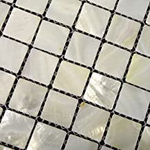 White Mother of Pearl Tile - Shell Tiles12 X 12 Mesh-mounted - Home Elements by Home Elements
