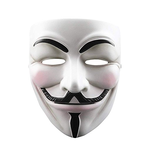Guy Fawkes Halloween Costume V For Vendetta Mask Anonymous Fancy Cosplay Halloween Costumes Masquerade Party Face ()