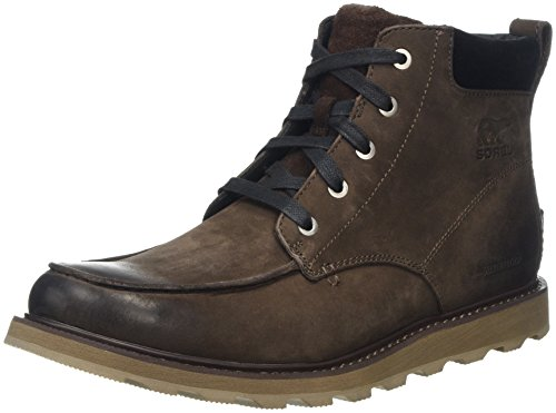Sorel - Men's Madson Moc Toe Waterproof Boot, All-Weather Footwear for Everyday Wear, Bruno/Black, 10 M US
