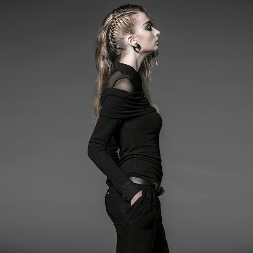 be2681caecfa16 Damen Blusenshirt Stretch Carmenausschnitt mit Kragen Punk Rave PY-050  Gr.36: Amazon.de: Bekleidung
