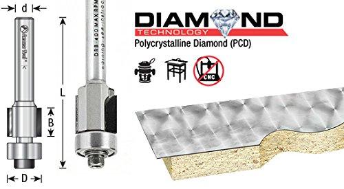 Amana Tool DRB-400 PCD Diamond Tipped Flush Trim 1//2 D x 7//16 CH x 1//4 SHK x 2-19//64 Inch Long Router Bit w//Lower Ball Bearing