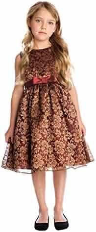 ac35e162853b Sweet Kids Little Girls Burgundy Bronze Floral Embroidered Christmas Dress 2 -6