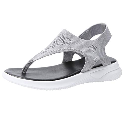 Kauneus Summer Sandals for Women Thong Design Gladiator Comfy Flat Sole Memory Foam Insole Mesh Sandals Gray