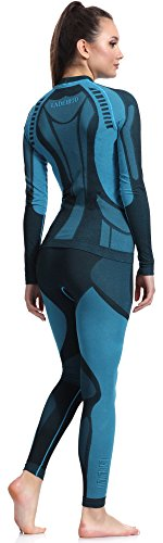 Ladeheid Función Ropa Interior Conjunto Camiseta Manga Larga Calzas Largas para Mujer Thermoaktiv Negro/Turquesa