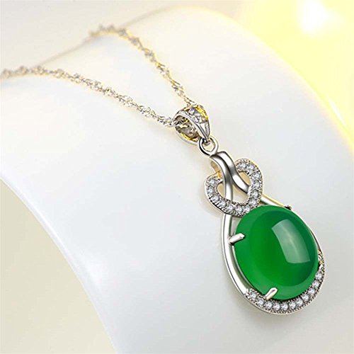 Green Natural Emerald (ERAWAN Elegant Women Green Natural Emerald & Diamond Wedding Silver Pendant Jewelry New EW sakcharn)