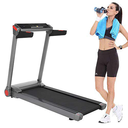Blackpoolfa Upgraded Electric Folding Treadmill with Large LCD Display, Motorized Running Machine with Wheels for Home & Gym - Easy Assembly