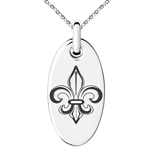 Tioneer Stainless Steel Valorous Fleur De Lis Symbol Engraved Small Oval Charm Pendant Necklace ()