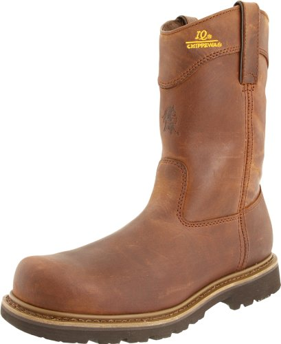 - Chippewa Men's 10'' Tough Bark Oblique Toe Wellington Pull-On,Bark,6.5 D US