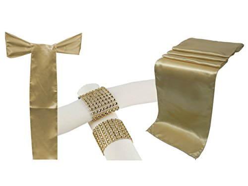 Combo Satin Pack 10 Table Runner 12x108 Inch & 50 Chair Bow Sash & 50 Plastic Rhinestone Napkin Rings Wedding Banquet Kitchen - Wedding Ring Table Runner