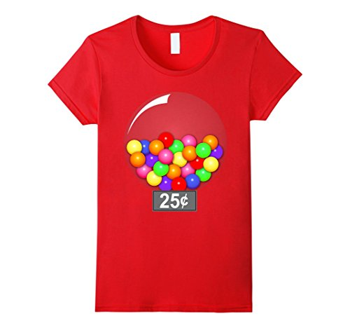 Gumball Costume For Halloween (Womens Gumball Machine Quarter Couples Halloween Costume T-Shirt XL Red)