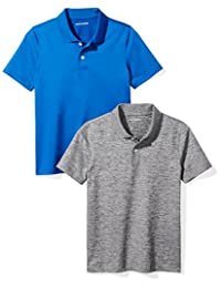 Amazon Essentials Boys' 2-Pack Performance Polo