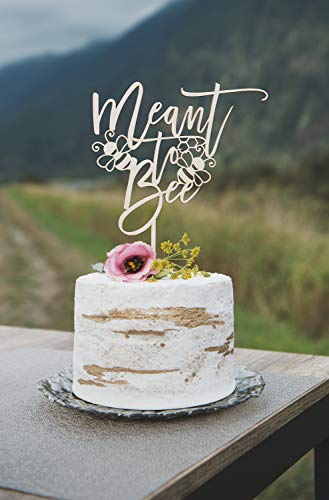 (Meant to Bee Wedding Cake Topper, Wedding Cake Topper, Cake Decorations, Rustic Decor, Cake Topper Wedding, Bridal Shower decor, rustic cake topper)