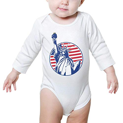 New York Statue of Liberty American City Baby Onesie White Outfits Long Sleeve Organic Cotton Unisex -