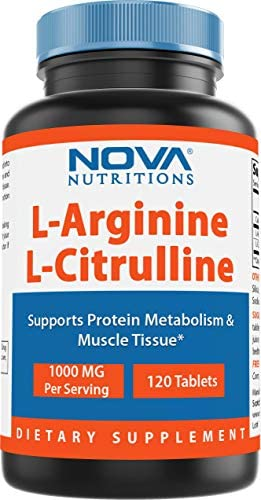 Nova Nutritions L-Arginine L-Citrulline 1000mg – Promotes Muscle Relaxation – 120 Tablets